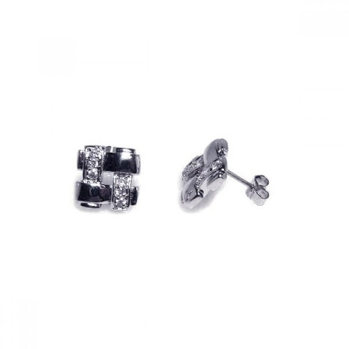 -Closeout- Wholesale Sterling Silver 925 Rhodium Plated Weaved Square CZ Stud Earrings - STE00149