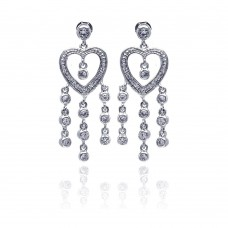 **Closeout** Sterling Silver Rhodium Plated Heart CZ Three Strand Dangling Earring ste00169
