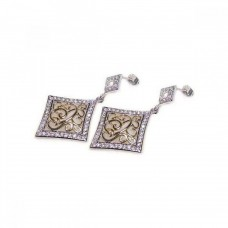 **Closeout** Wholesale Sterling Silver 925 Rhodium Plated Square CZ Filigree Dangling Earrings - STE00179
