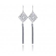 **Closeout** Wholesale Sterling Silver 925 Rhodium Plated Chandelier CZ Multi Strand Dangling Earrings - STE00180