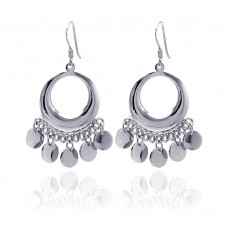 **Closeout** Wholesale Sterling Silver 925 Rhodium Plated Round Flat Circle Dangling Hook Earrings - STE00190