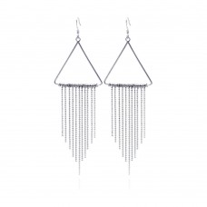 **Closeout** Wholesale Sterling Silver 925 Rhodium Plated Triangle Multi Strand Dangling Chandelier Earrings - STE00194