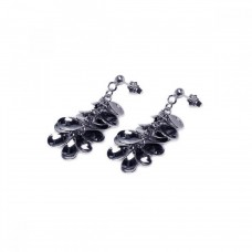 **Closeout** Wholesale Sterling Silver 925 Rhodium Plated Multi Black Flat Circle Dangling Earrings - STE00196