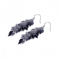 **Closeout** Wholesale Sterling Silver 925 Rhodium Plated Multi Black Flat Sharp Marquis Dangling Hook Earrings - STE00199