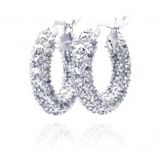 Wholesale Sterling Silver 925 Rhodium Plated Rift Cluster CZ Hoop Earrings - STE00203