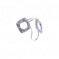 **Closeout** Wholesale Sterling Silver 925 Rhodium Plated Square Circle Cut CZ Hook Earrings - STE00208RH