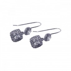 **Closeout** Sterling Silver Rhodium Plated Rectangle CZ Dangling Hook Earring - STE00209