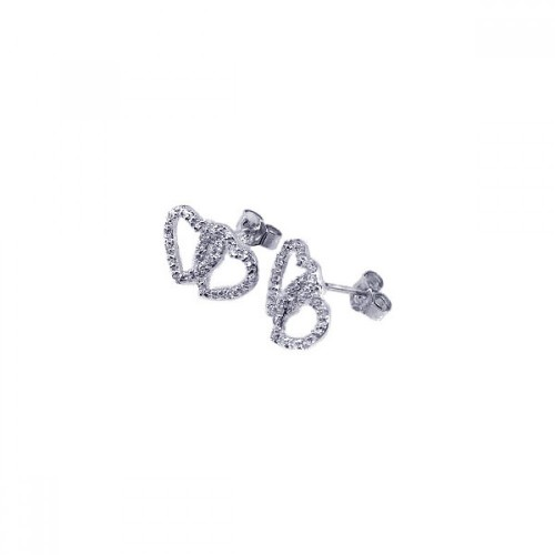 Wholesale Sterling Silver 925 Rhodium Plated Two Heart CZ Post Earrings - STE00216