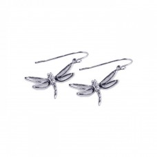 **Closeout** Sterling Silver Rhodium Plated Dragonfly CZ Hook Earring ste00223