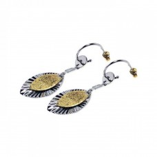 **Closeout** Sterling Silver Rhodium Plated Marqui Sterling Gold Rhodium Plated Marqui CZ Round Hook Earring ste00232