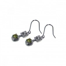 **Closeout** Sterling Silver Rhodium Plated Round Green & Clear Square CZ Dangling Hook Earring ste00244