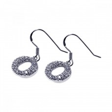 **Closeout** Wholesale Sterling Silver 925 Rhodium Plated Round Oval CZ Dangling Hook Earrings - STE00245