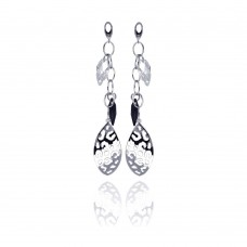 **Closeout** Wholesale Sterling Silver 925 Rhodium Plated Black and Clear Marquise CZ Flat Filigree Wire Dangling Stud Earrings - STE00290