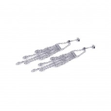 **Closeout** Sterling Silver Rhodium Plated Marqui CZ Wire Dangling Chandelier Earring ste00438