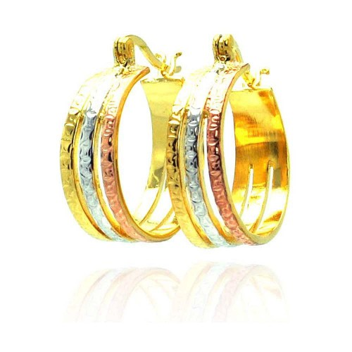 Wholesale Sterling Silver 925 Gold and Silver and Bronze Rhodium Plated CZ Hook Earrings - STE00445