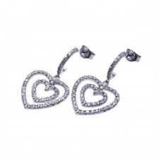 **Closeout** Sterling Silver Rhodium Plated Graduated Two Heart CZ Dangling Semi-Hoop Earrings - STE00486