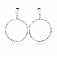 **Closeout** Sterling Silver Rhodium Plated Round CZ Dangling Earring ste00510