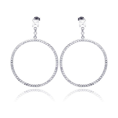 -Closeout- Wholesale Sterling Silver 925 Rhodium Plated Round CZ Dangling Earrings - STE00510