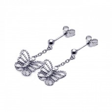 Sterling Silver Rhodium Plated Butterfly CZ Dangling Wire Post Earring ste00527