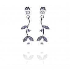 Wholesale Sterling Silver 925 Rhodium Plated Leaf Marquise Fresh Water Pearl CZ Dangling Stud Earrings - STE00529