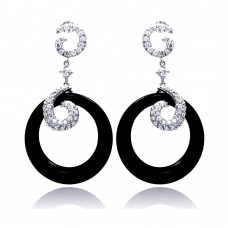 **Closeout** Wholesale Sterling Silver 925 Rhodium Plated Coil J hook CZ Black Round Onyx Dangling Stud Earrings - STE00530