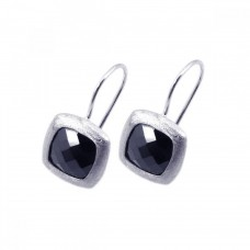 **Closeout** Wholesale Sterling Silver 925 Rhodium Plated Black Square CZ Hook Earrings - STE00532
