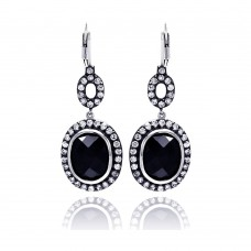 **Closeout** Wholesale Sterling Silver 925 Rhodium Plated Black Round CZ Dangling Earrings - STE00534