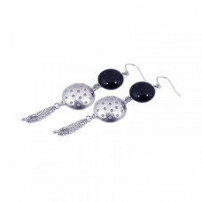 **Closeout** Wholesale Sterling Silver 925 Rhodium Plated Round Half Golf Ball CZ Dangling Wire Multi Strand Hook Earrings - STE00535