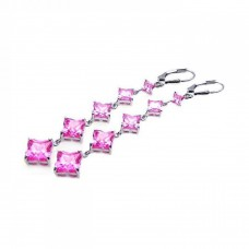 **Closeout** Sterling Silver Rhodium Plated Graduate Pink CZ Wire Dangling Hook Earring ste00539