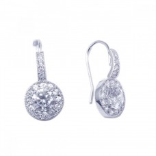 Sterling Silver Rhodium Plated Curve Round CZ Hook Earring ste00567