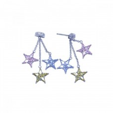 **Closeout** Sterling Silver Rhodium Plated Three Start Multicolor CZ Dangling Strand Stud Earring ste00610