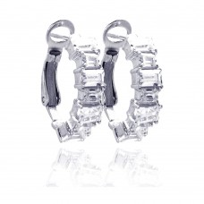 Wholesale Sterling Silver 925 Rhodium Plated Clear Baguette CZ Hoop Earrings - STE00615