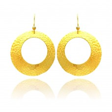 **Closeout** Wholesale Sterling Silver 925 Gold Rhodium Plated Round Open Circle Earrings - STE00655