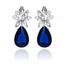 Wholesale Sterling Silver 925 Rhodium Plated Blue and Clear Marquise CZ Dangling Stud Earrings - STE00659BLUE