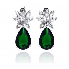 Wholesale Sterling Silver 925 Rhodium Plated Teardrop Green and Clear CZ Dangling Stud Earrings - STE00659GREEN