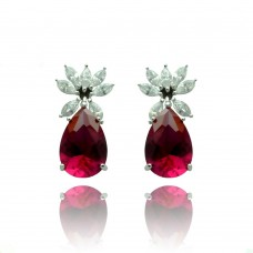 Wholesale Sterling Silver 925 Rhodium Plated Red Teardrop Flower CZ Dangling Stud Earrings - STE00659RED