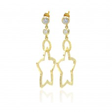 **Closeout** Wholesale Sterling Silver 925 Gold Rhodium Plated Round Clear CZ Star Dangling Stood Earrings - STE00703