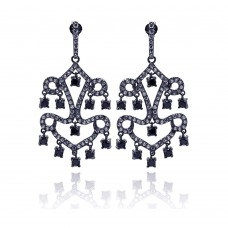 **Closeout** Wholesale Sterling Silver 925 Oxidized Rhodium Plated Round Black CZ Dangling Chandelier Stud Earrings - STE00713