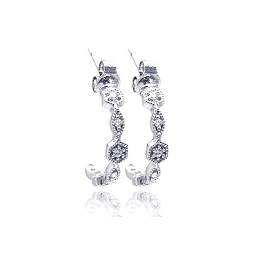 Wholesale Sterling Silver 925 Rhodium Plated Round Marquis Clear CZ Crescent Huggie Earrings - STE00754