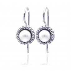 Wholesale Sterling Silver 925 Rhodium Plated Round CZ Fresh Water Pearl Hook Earrings - STE00756