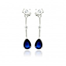 Sterling Silver Rhodium Plated Blue Teardrop CZ Wire Dangling Stud Earring ste00880