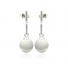 Sterling Silver Rhodium Plated Fresh Water Pearl Dangling Stud Earring - STE00881
