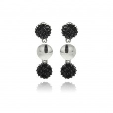 Sterling Silver Black Rhodium Plated Cluster CZ Dangling Earring ste00883