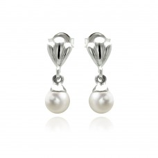 Wholesale Sterling Silver 925 Rhodium Plated Synthetic Pearl Dangling Stud Earrings - STE00888
