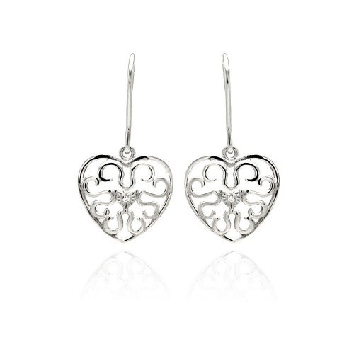 Wholesale Sterling Silver 925 Rhodium Plated Small Round CZ Heart Filigree Dangling Earrings - STE00889