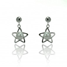 Wholesale Sterling Silver 925 Rhodium Plated Open Start Dangling Synthetic Pearl Stud Earrings - STE00908
