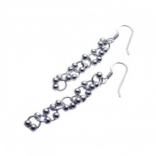 **Closeout** Sterling Silver Rhodium Plated Multi Ball Round Dangling Hook Earring ste00931