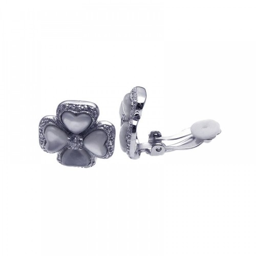 -Closeout- Wholesale Sterling Silver 925 Rhodium Plated Heart Clover CZ Stud Earrings - STE00936
