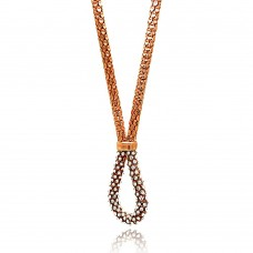 -Closeout- Wholesale Sterling Silver 925 Rose Gold Plated Multiple Disc CZ Italian Necklace - ITN00040RGP