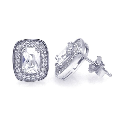Wholesale Sterling Silver 925 Rhodium Plated Micro Pave Clear Square Inlay CZ Earrings - ACE00035